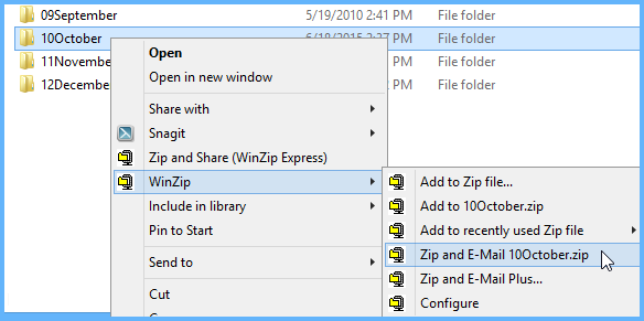 Zip a folder with the WinZip context menu