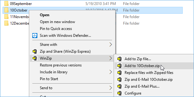Zip a folder with the WinZip context menu