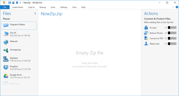 WinZip in the default view