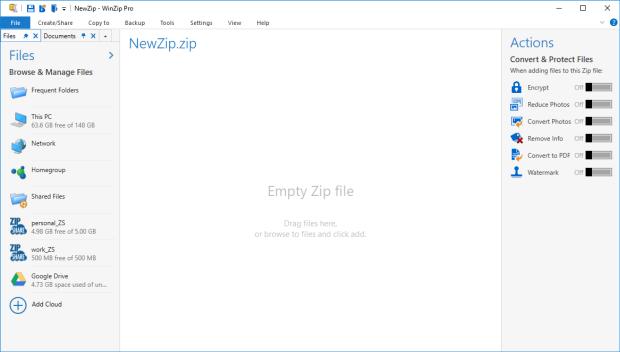 WinZip in the default view