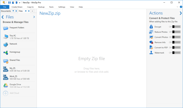 Zipping files: WinZip Default view - WinZip - Knowledgebase