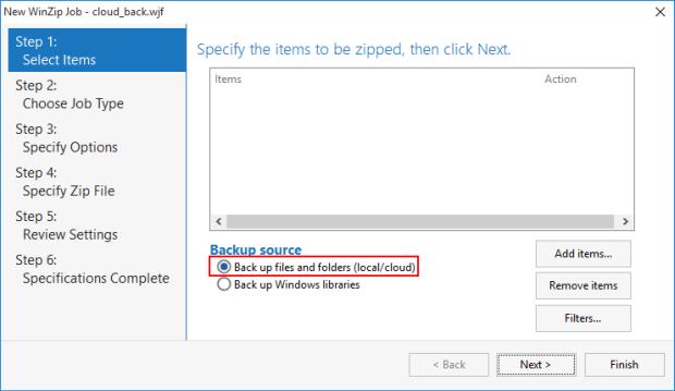 Choose Back up cloud files