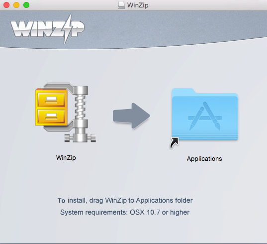 Drag and drop WinZip to Applications