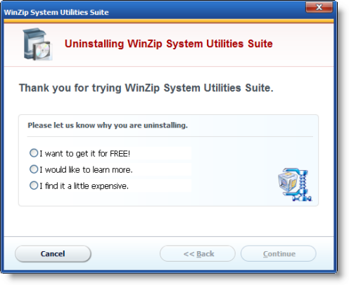 WinZip Utility first uninstall panel