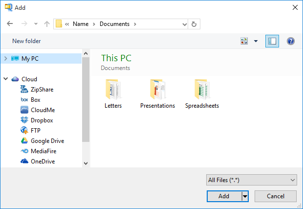 Choose files and folders in the Add dialog