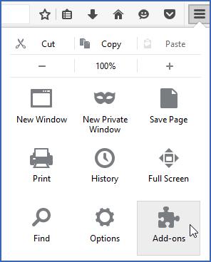Firefox menu showing Add-ons