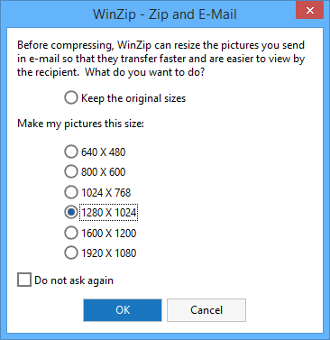 Zip and E-Mail dialog - choose a resize option