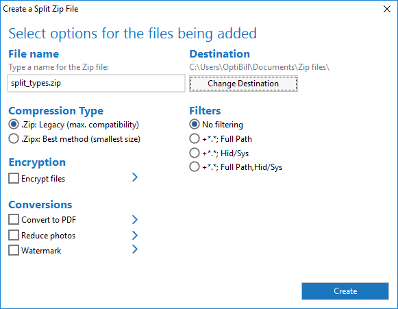 Choose options for your split Zip file