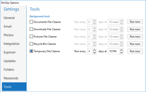 The Tools tab in WinZip Options