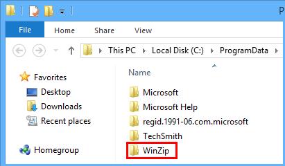 WinZip folder in ProgramData