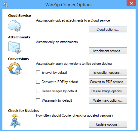 Courier Options dialog