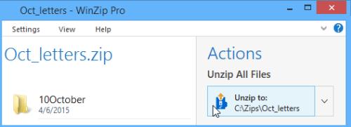 Click Unzip to