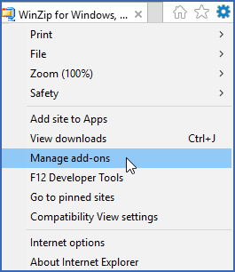 Internet Explorer Tools menu showing Manage add-ons