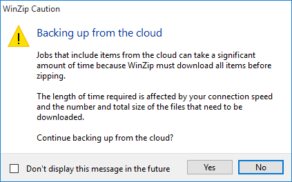 Caution dialog about downloading time