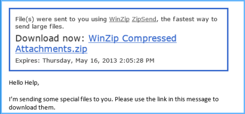 Email message with ZipSend link