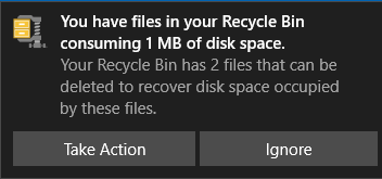 Clean Recycle Bin notification