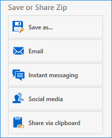 Click a Save or Share Zip option