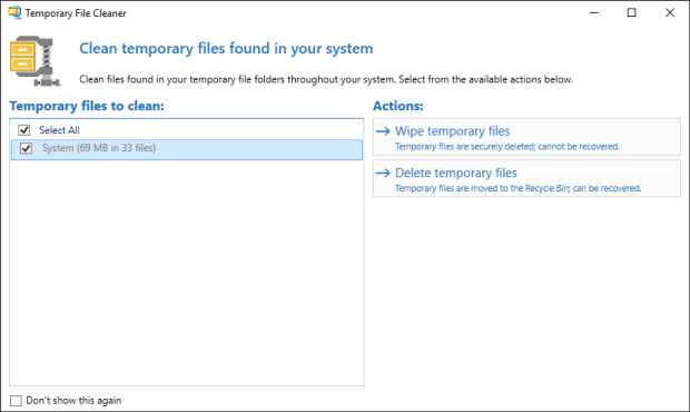 Clean Temporary Files window