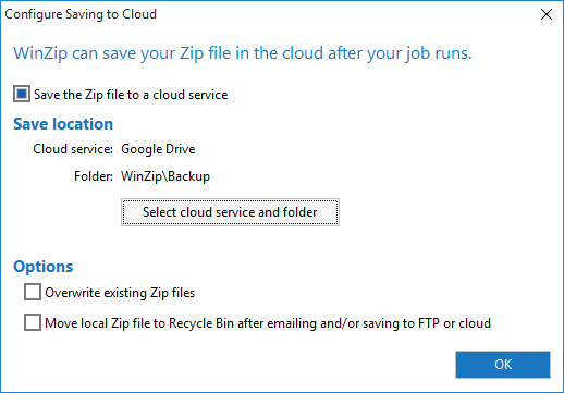 The Configure Saving to Cloud dialog