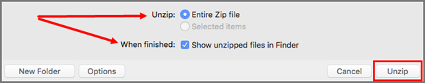 Choose options and click Unzip