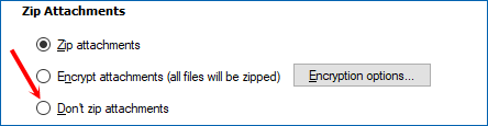 Uncheck the Zip files box