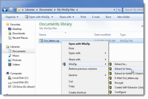 Unzip a folder with the WinZip context menu