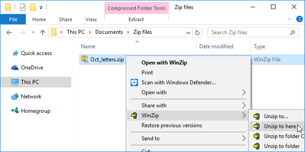 Unzip a folder with the WinZip context menu