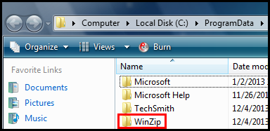 Delete the WinZip folder