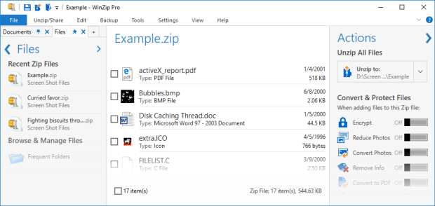 Zip file in the Default view
