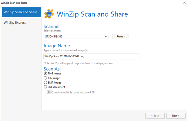 WinZip Scan and Share first tab