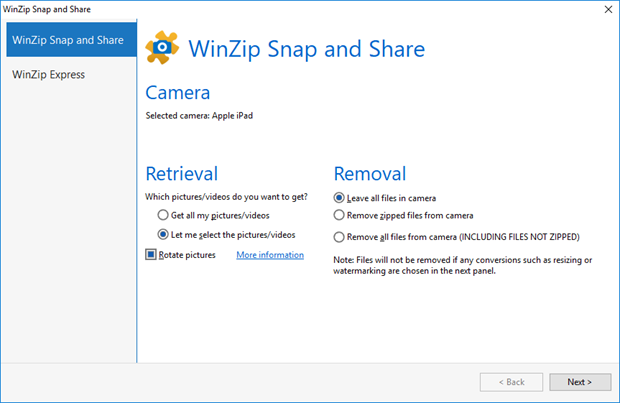 WinZip Snap and Share first dialog