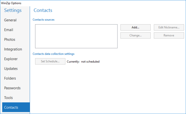 Contacts tab in WinZip Options