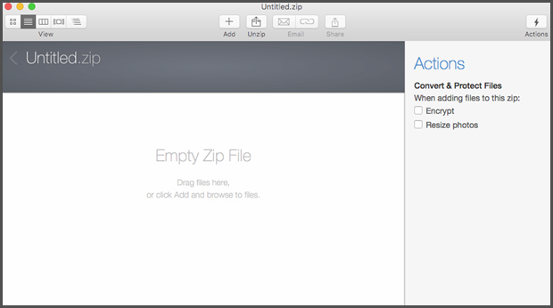 Empty WinZip window
