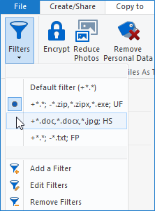 Filters drop down menu