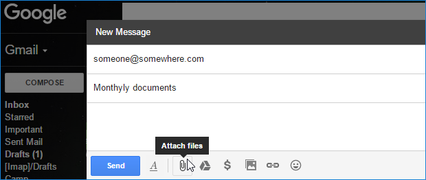 Attach a file in Gmail