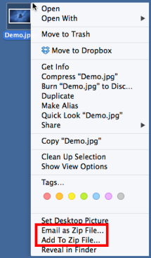 WinZip Mac context menu features