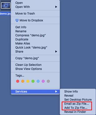 WinZip Mac context menu features