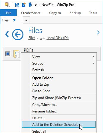 Schedule files for deletion - WinZip - Knowledgebase