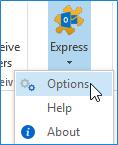 WinZip Express for Outlook drop down menu