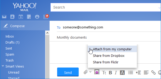 Attach a file in Yahoo! mail
