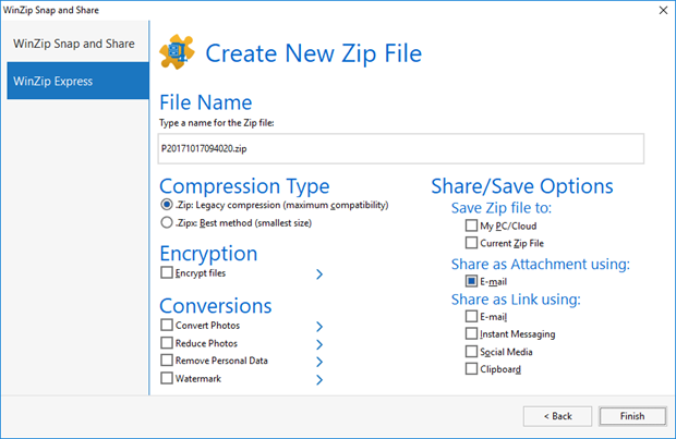 WinZip Snap and Share second dialog