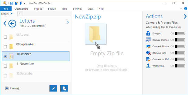 Drag to the Zip file pane or click Add