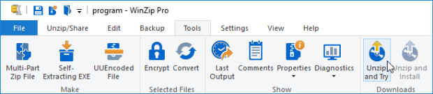 WinZip ribbon interface - the Unzip and Try button