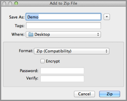 Add to Zip File dialog