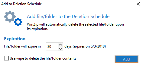 Configure the Add to Deletion Schedule dialog