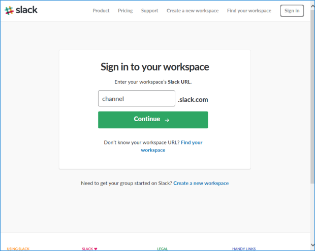 Type workspace name and click Continue