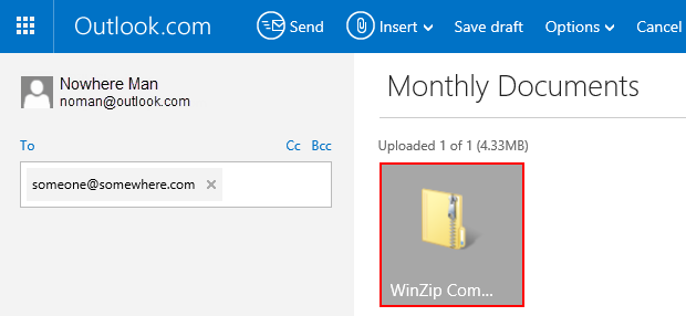Zip file is attached to the message