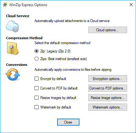 Express for Outlook Options