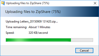 Zip file uploading to default share service