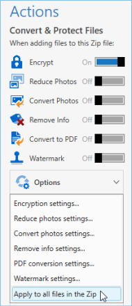 Option to apply conversions to already added files
